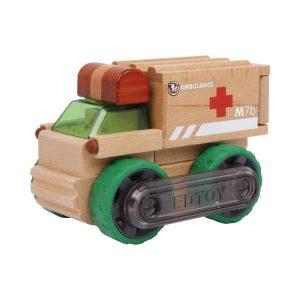 Ambulancia de madera juguete